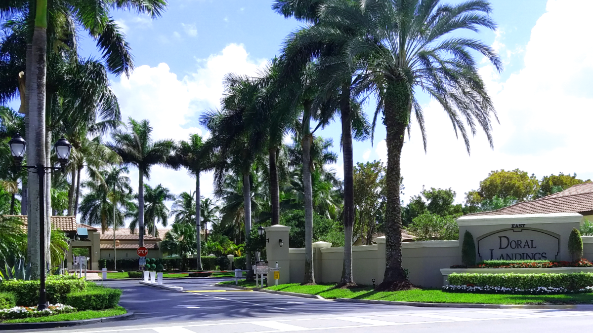 Doral Landings Majestic Palm Tree Entrance