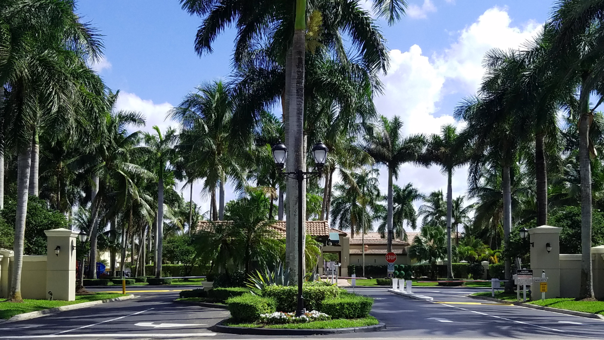 Doral Landings Palm Tree Gated Entrance